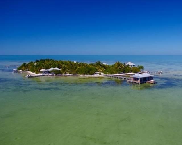 Aerial of Island Cayo Espanto Belize Sou