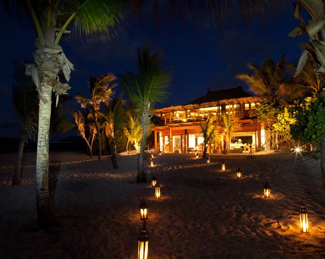 necker island beach house night