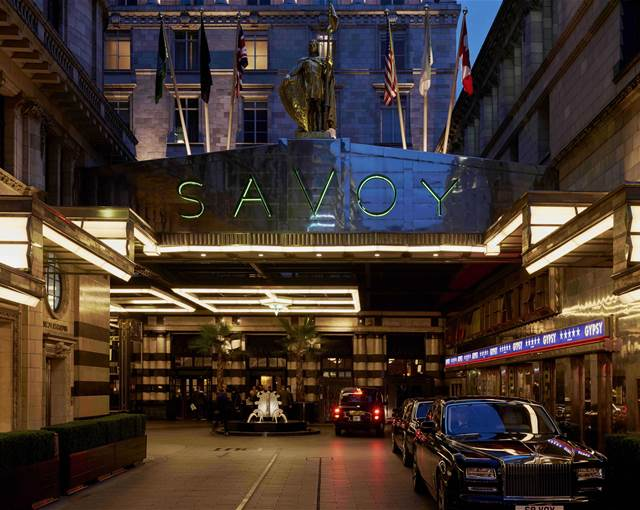 the savoy front of hotel exterior night