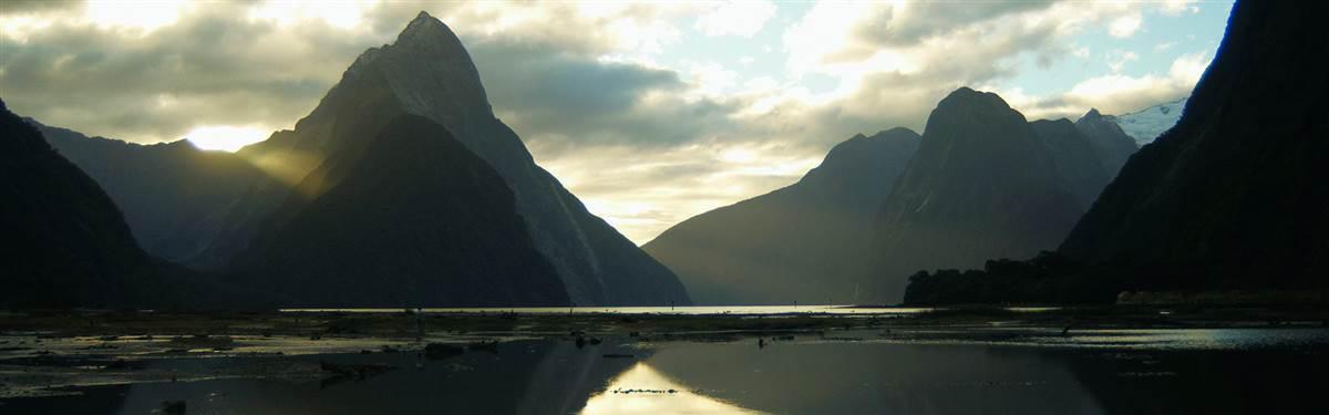 fiordland lodge mitre peak sunset