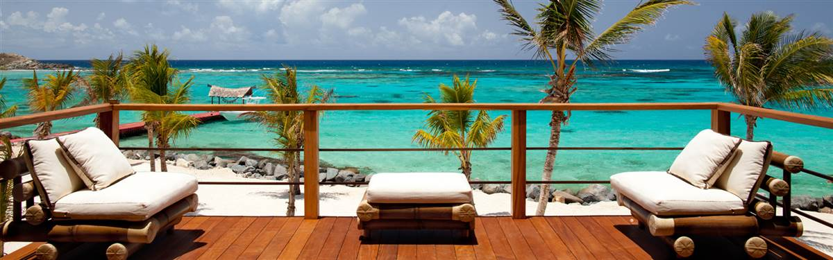 necker island beach house view