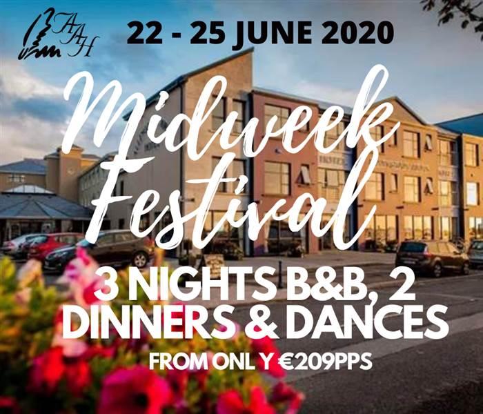 3 B&B, 2 Dinners & Dances - Midweek Festival