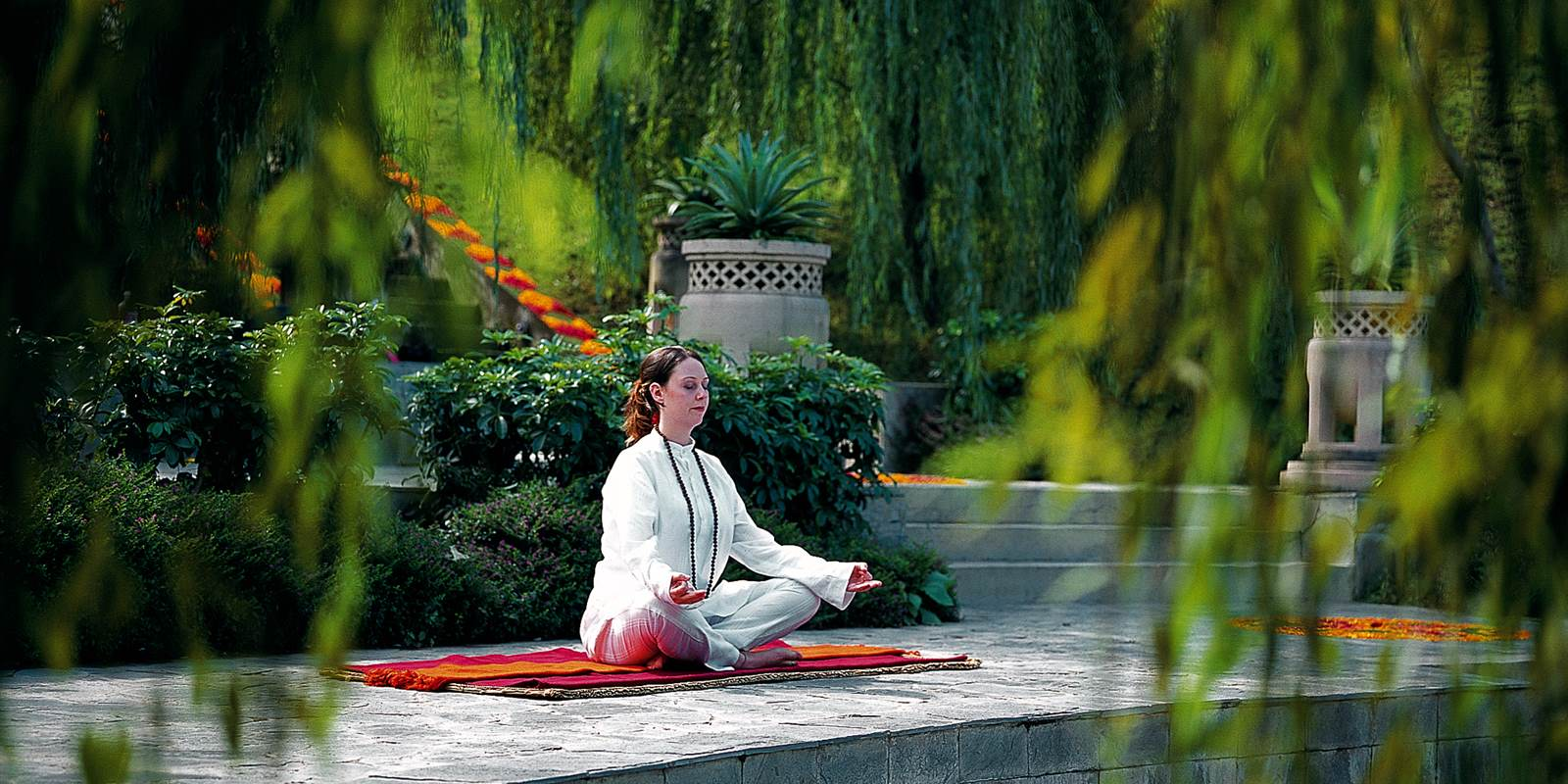 Meditation in Ananda Spa luxury Hotel in The Himalayas, India