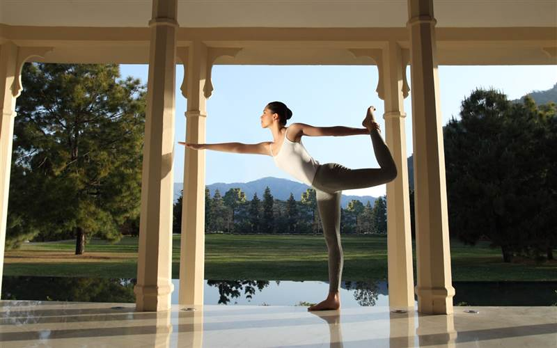 Yoga at Music Pavilion in Ananda Spa, luxury hotel in The Himalayas