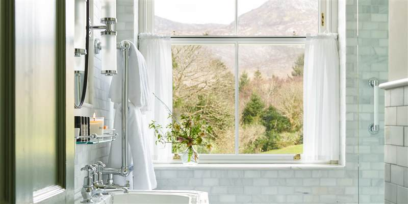 Bathroom with a Mountain view