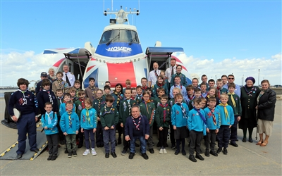 warwick davies and scouts at Hovertravel
