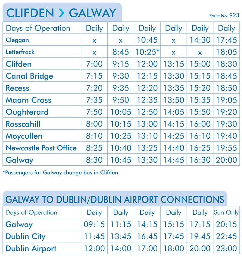 Clifden to Galway timetable(From the 21st of May)