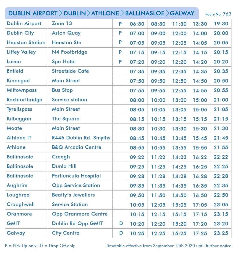 Dublin Airport-Dublin-Athlone-Ballinasloe-Galway - Route 763