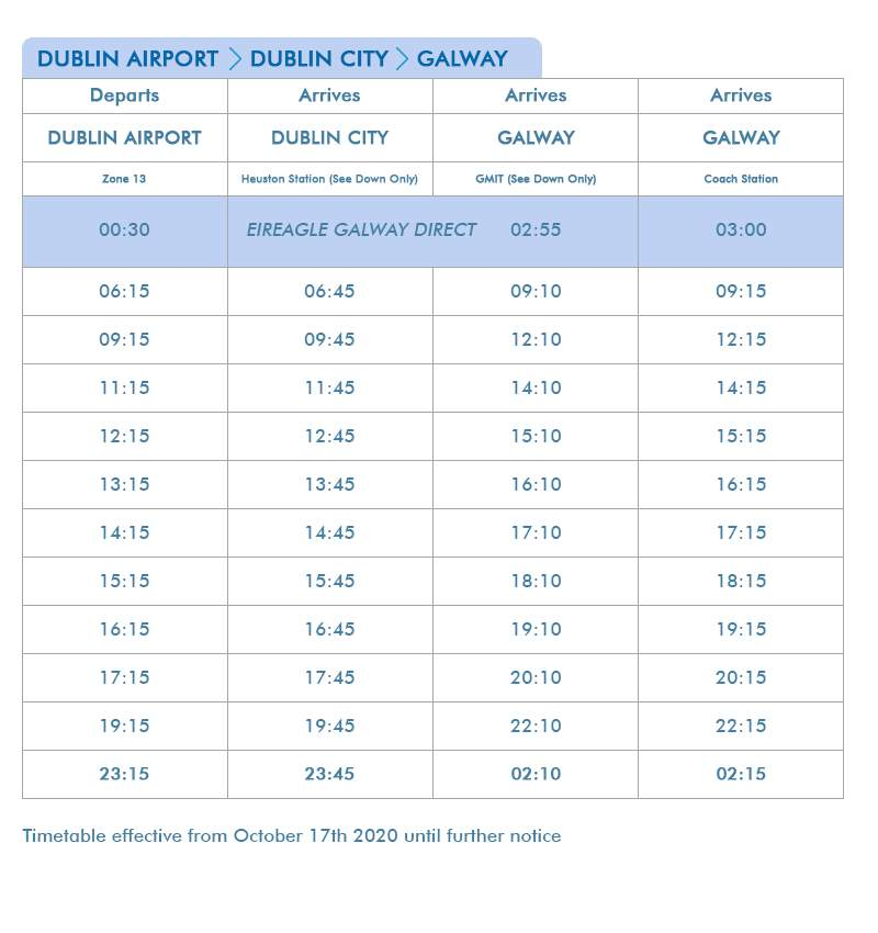 Dublin Airport to Galway Non-Stop Express Route 760 & 761