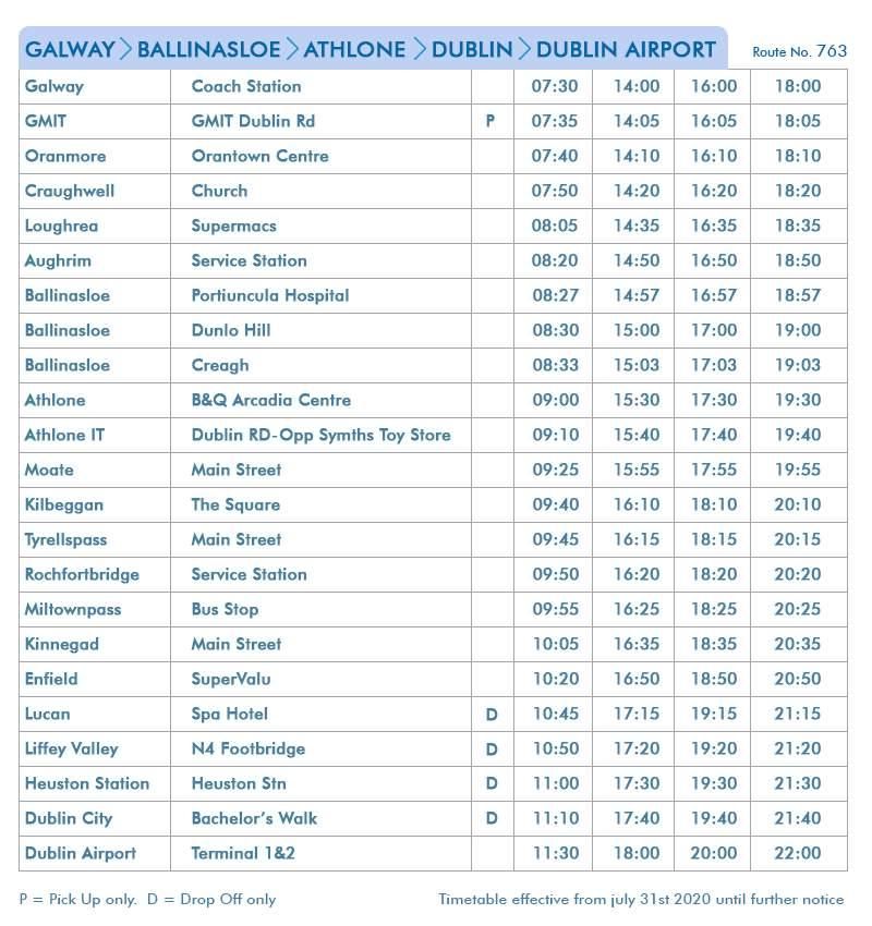 Galway-Ballinsloe-Athlone-Dublin-Dublin Airport - Route 763