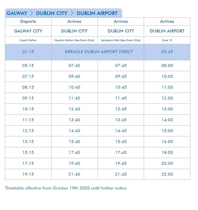Galway - Dublin City - Dublin Airport Non-Stop Express - Route 660 & 761