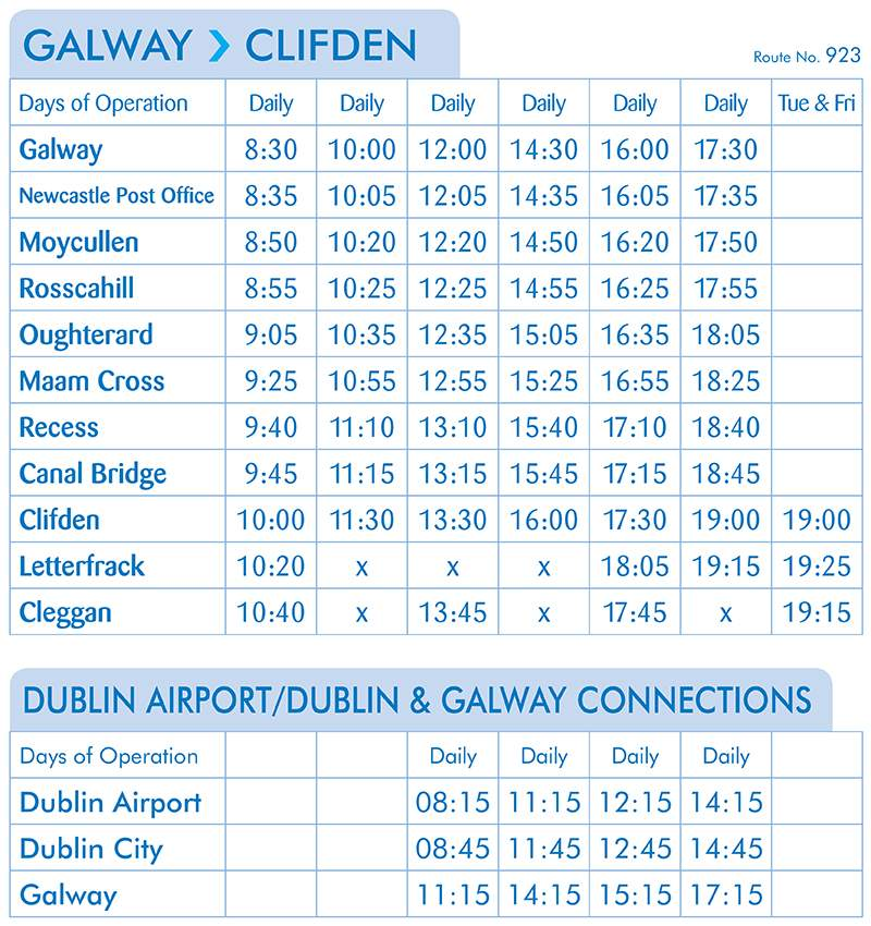 Galway - Clifden Timetable - Route 923