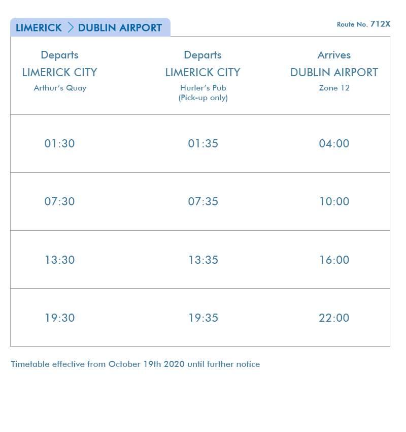 Limerick- Dublin Airport eireagle - Route 712X