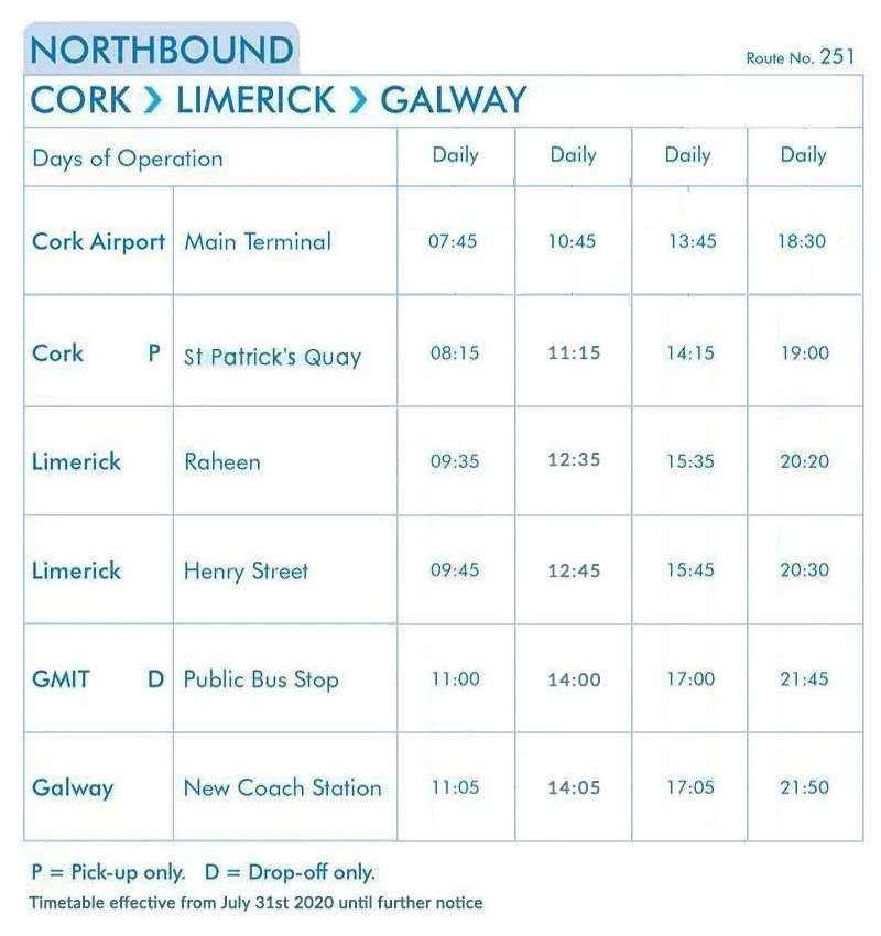 Cork Airport - Cork - Limerick - Galway express