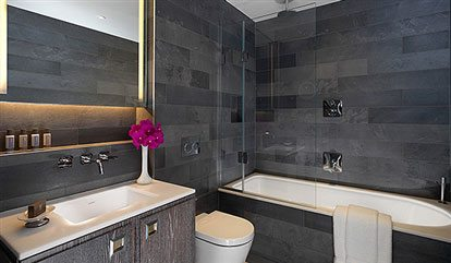 Luxury hotel bathroom at Flemings Mayfair