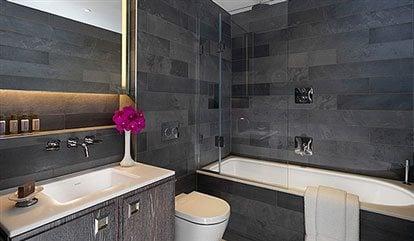 Luxury hotel bathroom at Flemings Mayfair