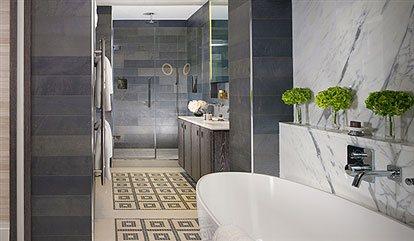 studio suite bathroom in a luxury london suite  at flemings mayfair