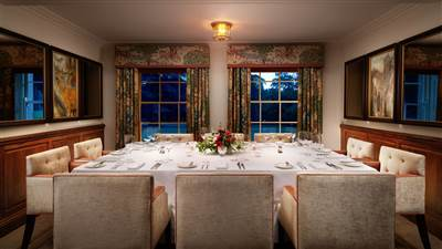 The Brook Room at Grantley Hall in Ripon is perfect for intimate private dining space for up to 10 people
