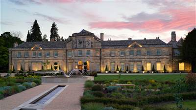 Exterior at Grantley Hall at Twilight, luxury hotel in Yorkshire