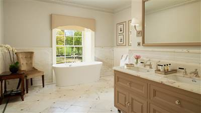Grand Suite Bathroom at Grantley Hall 5 Star hotel in Ripon