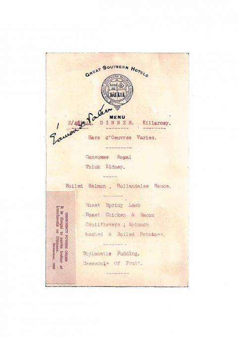 1940s menu - Eamon de Valera