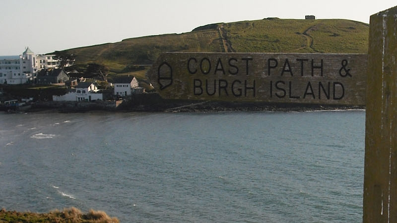 South West Coast Path sign, Bigbury on S