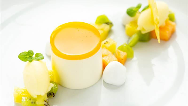 Coconut and mango mousse