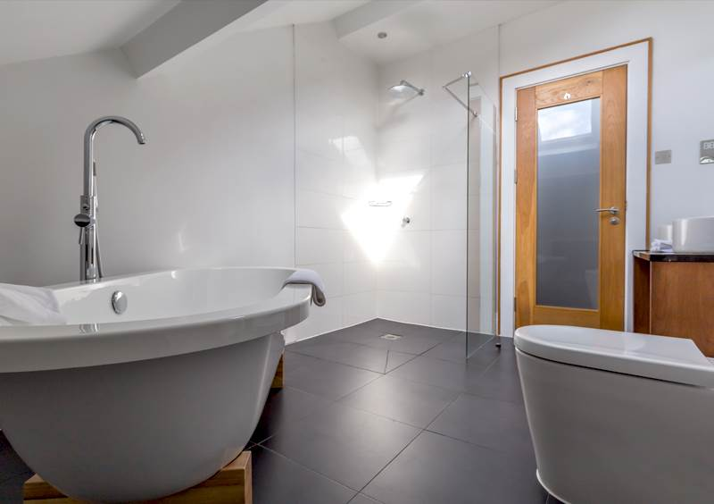Spacious bathroom at Hope Street Boutique hotel in Liverpool