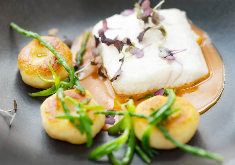 butter poached halibut
