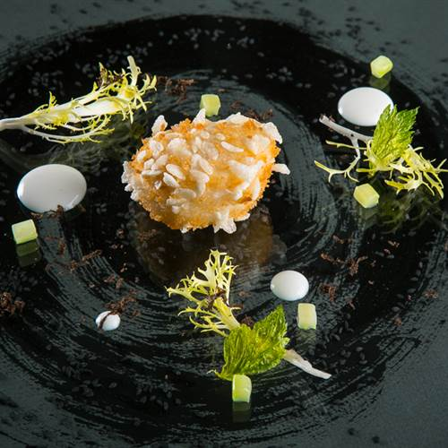 Breaded Sea Scallops, Shiitake Mushrooms and Black Truffle