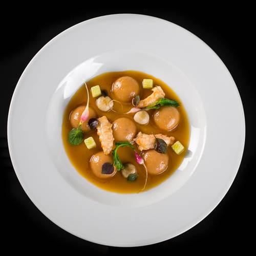 """Ischitana style"" Rabbit Ravioli and Scampi"