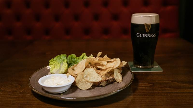 Guinness with Tayto Sandwich
