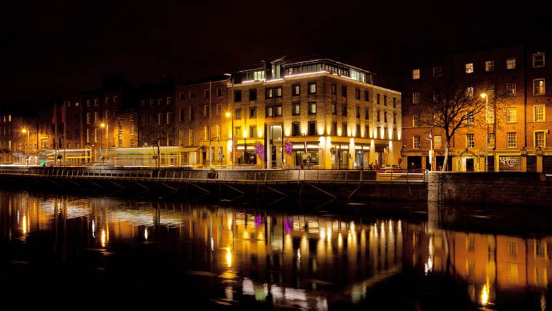 Exterior of the Morrison Hotel beside the River Liffey