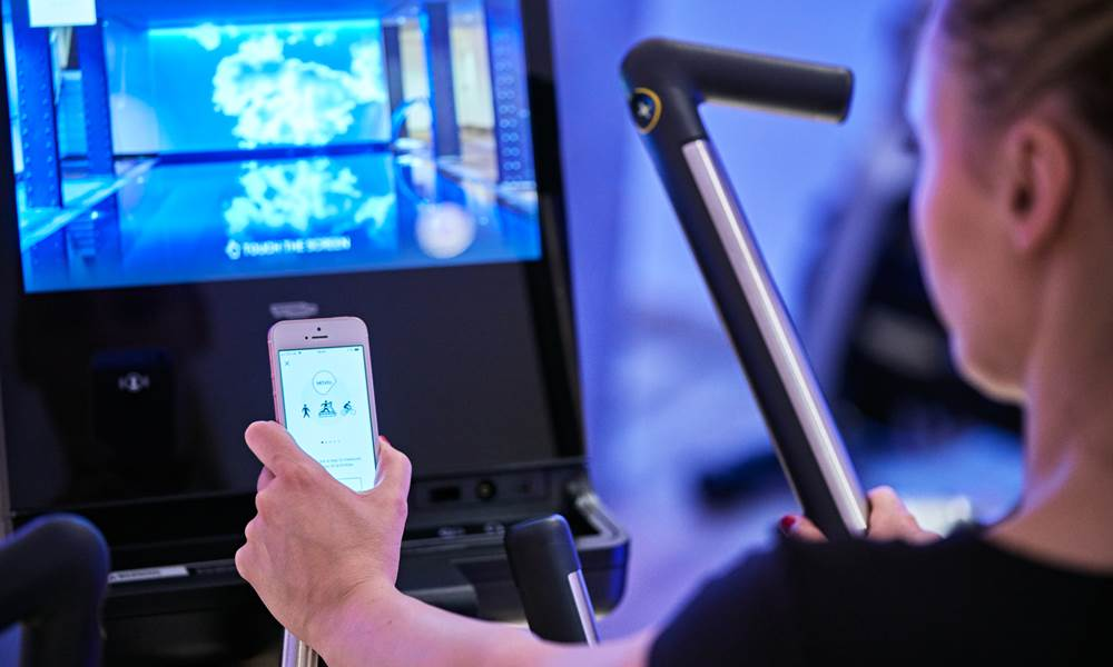 The gym has an extensive range of Technogym