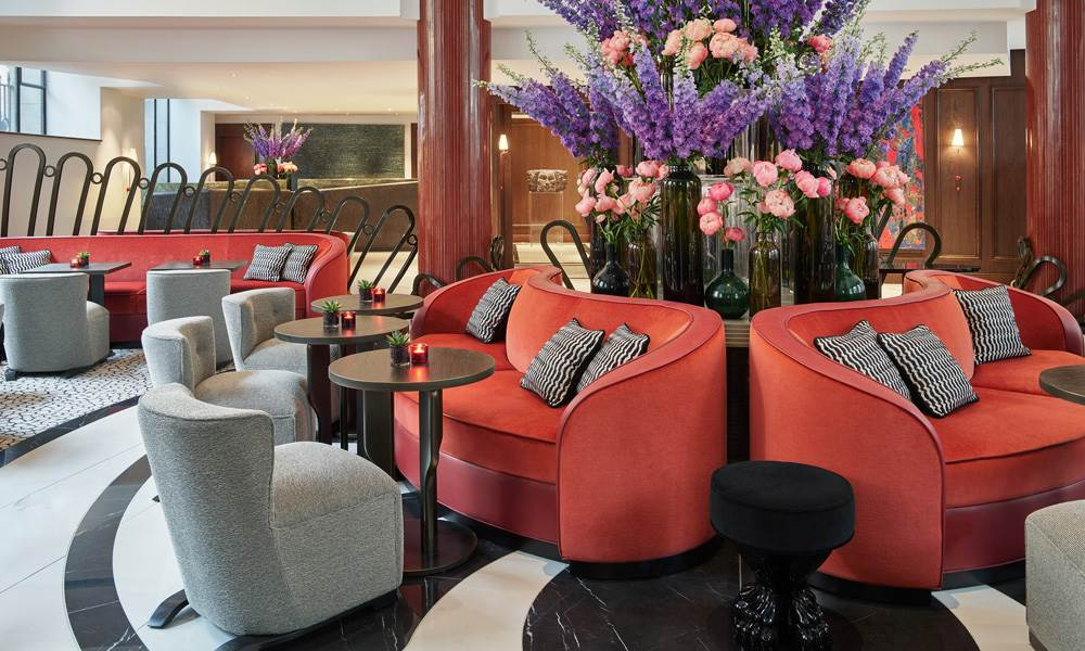 Step inside the super stylish Lobby Bar with view across the Aldwych