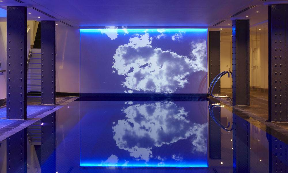 Dive into the chlorine-free pool with underwater music