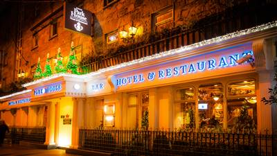 Exterior with Christmas decoration at Park House 4 Star Hotel in Galway city