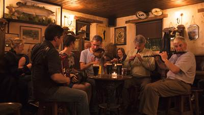Traditional Irish Music Session in Pub