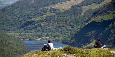 Tourists overlooking Glendalough
