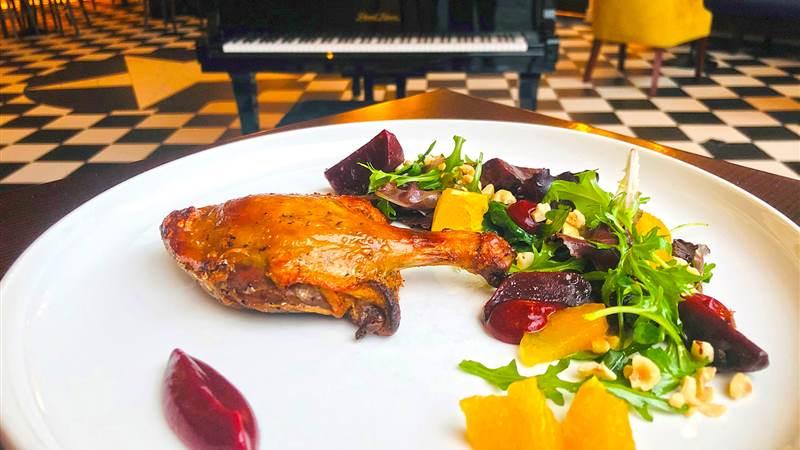 Chef Nigel's Confit Duck Leg, Beetroot, Orange, Hazelnut Salad