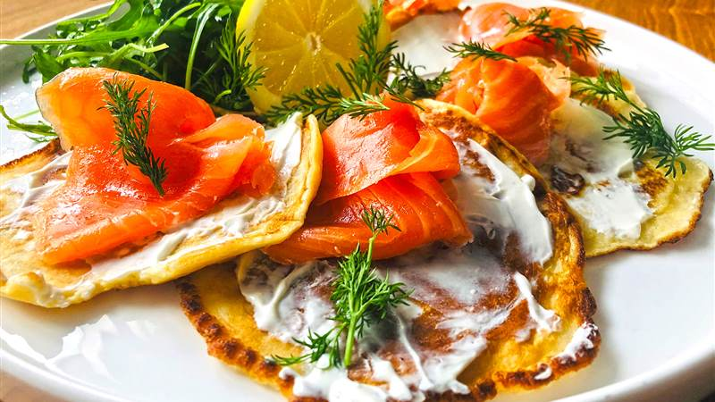 Chef Nigel's Smoked Salmon and Cream Cheese Pancakes