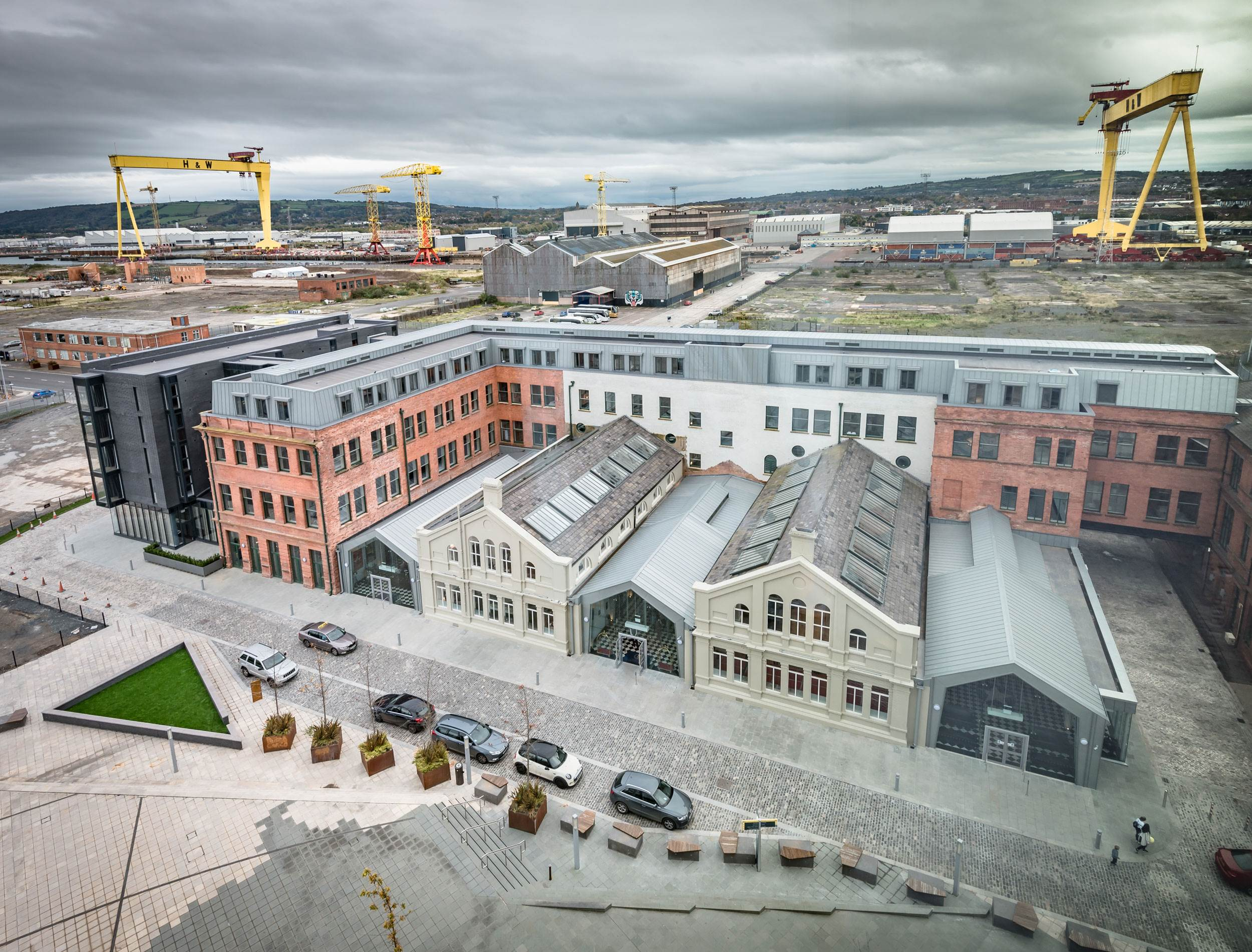 Elevated view of Titanic Hotel Belfast