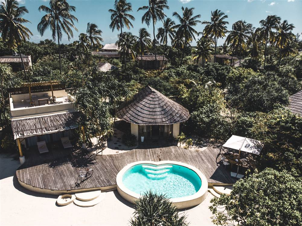 Aerial view of one-bedroom villa