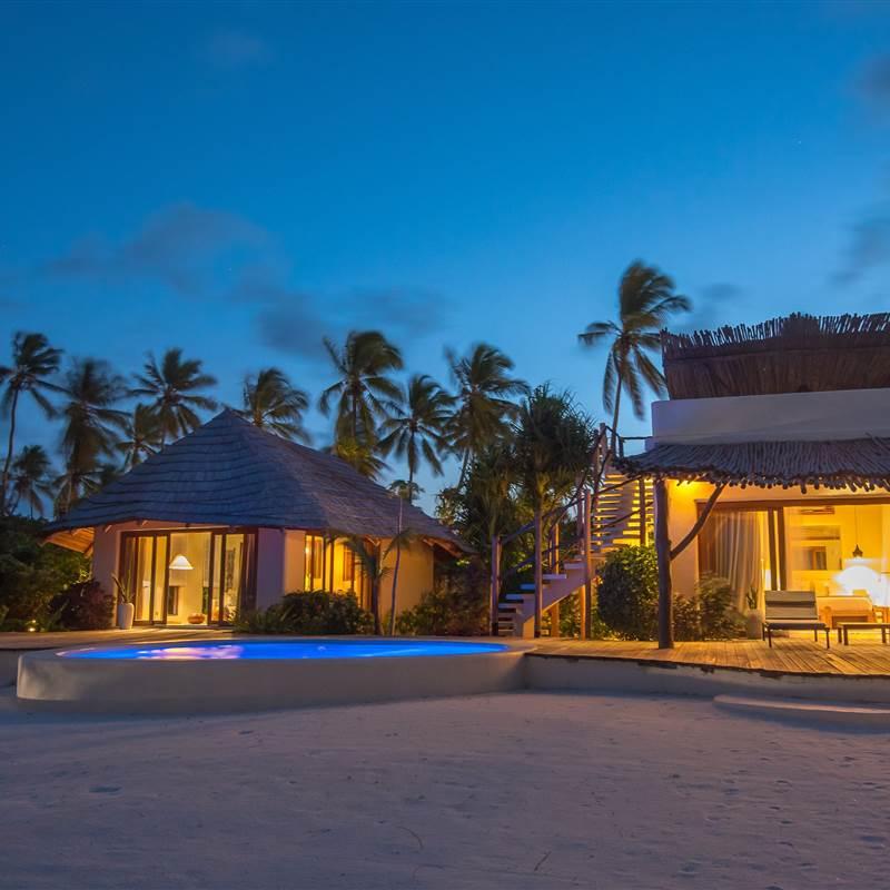 One bedroom villa by night